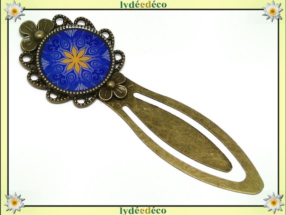 Retro bookmark bronze book resin yellow blue Mandalas mother father's day birthday Christmas custom gift