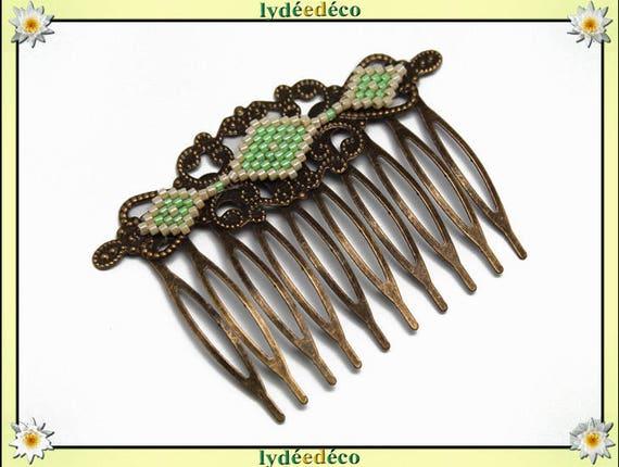 Vintage hair comb vintage wedding weaving beads Japanese green luminous glass bronze beige