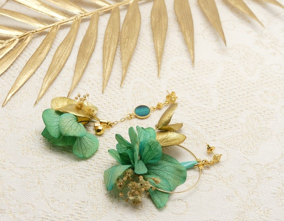HORTENSIA rings resin flowers stabilized turquoise pastel brass or 24k resin ceremony wedding gift christmas Christmas