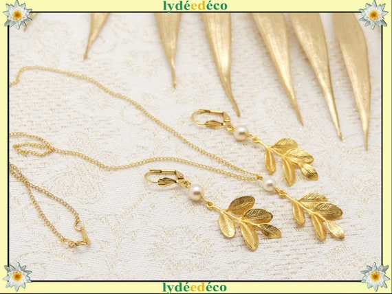 LEAF necklace necklaces gold leaf satin earrings 16K brass gold 24k resin gold-filled swarovski gift wedding christmas