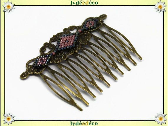 Vintage wedding hair comb Japanese bronze grey coral glass beads