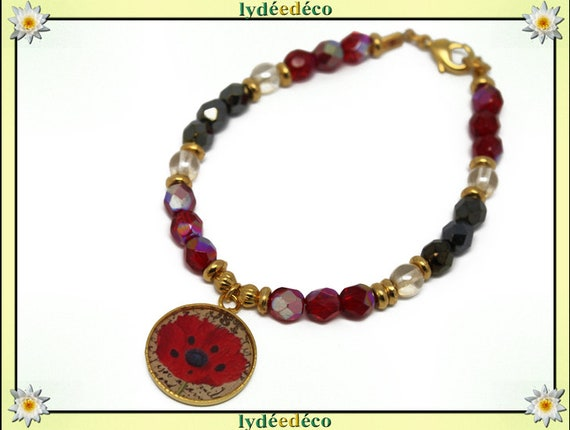 Resin brass gold 24 carat poppy red beige black plated bracelet faceted beads