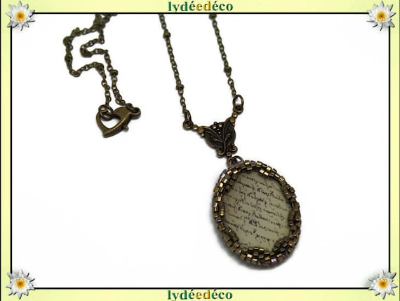Retro necklace vintage cabochon set Japanese writings beige sepia resin and brass Locket 18 x 25mm