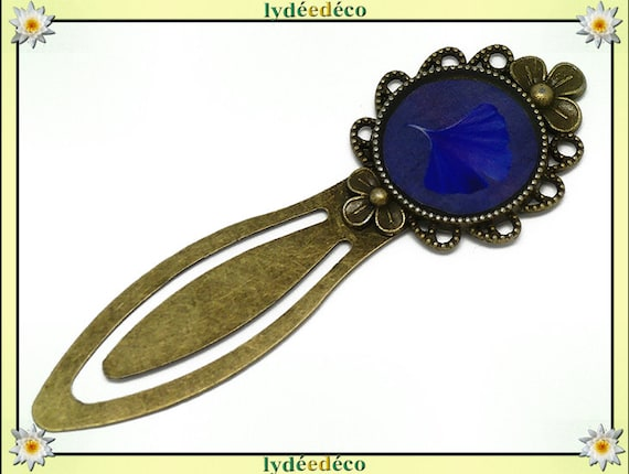 Bookmarks Ginko tree Japan Midnight Blue resin 20mm bronze brass mother's day birthday personalised thank you teacher