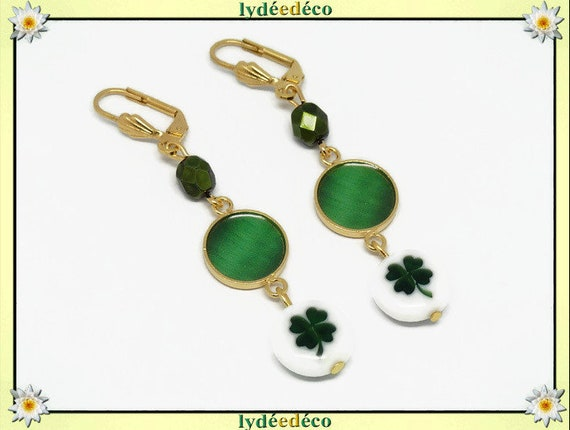 Gold plated brass clover earrings 24k clover 4 leaves green white resin birthday gift anniversary party wedding thank you Christmas