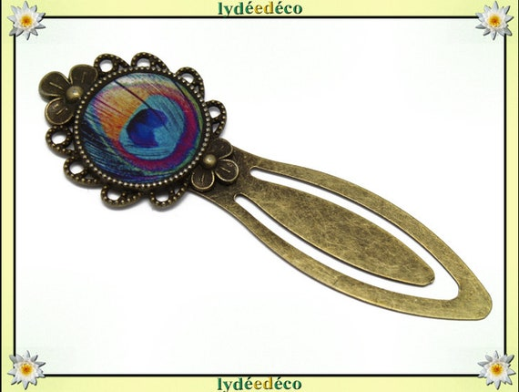 Bookmarks resin feather peacock blue yellow pink turquoise brass 20mm mother's day birthday personalised thank you teacher