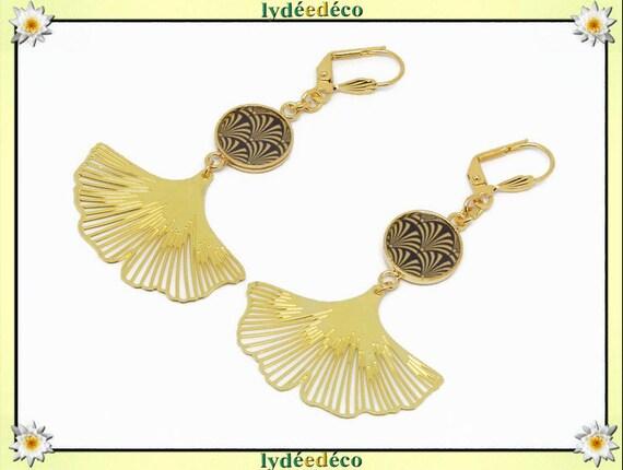 Earrings ginkgo biloba tree Japan black gold brass gold 24k resin birthday gift party of mothers wedding Christmas