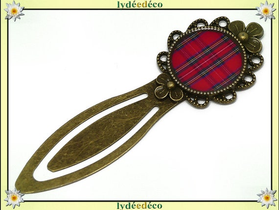 Retro Plaid red tartan plaid fabric bookmarks resin brass 20mm mother's day gift personalized birthday thank you teacher