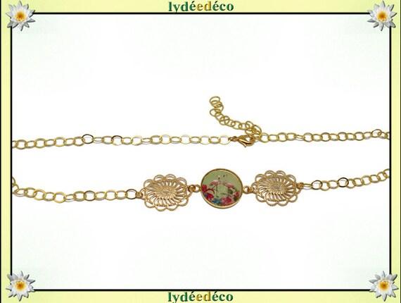 FLAMINGO headband brass gold 24 carat 24 k pastel lime green pink Flamingo flower resin