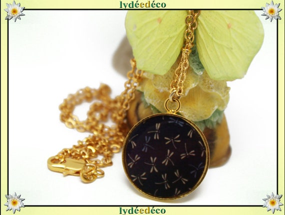 Dragonflies Japan Golden brass gold 24 carat 24 k Black Brown Blue resin necklace matinee mothers birthday gift