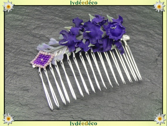 Vintage hair comb wedding weaving bead Lavender Purple welcome witness couple accessory bridesmaid gift bridal flower