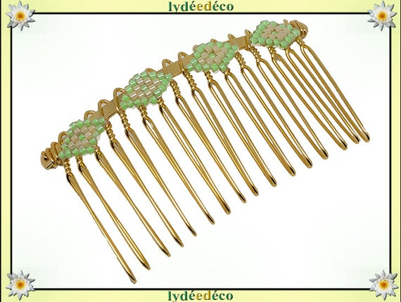 Vintage hair comb vintage wedding weaving beads Japanese green luminous glass Golden beige birthday mother's day gift