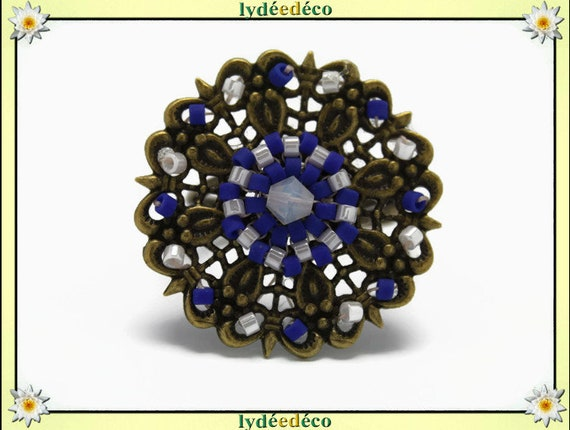 Japanese blue white glass 25mm brass beads charm retro vintage adjustable flower ring