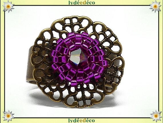 Ring with brass beads woven flower print Japanese colors 20mm hot pink adjustable mothers gift Christmas birthday party