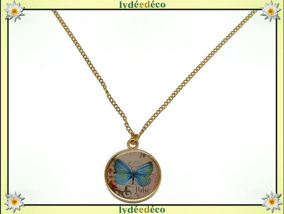 Blue pink butterfly brass Choker necklace gold plated 24 k gold filled 14 k resin mother's day Christmas birthday gift