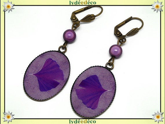 Retro earrings purple lilac resin brass GINKO tree Japan beads 18 x 25mm mother's day Christmas birthday gift
