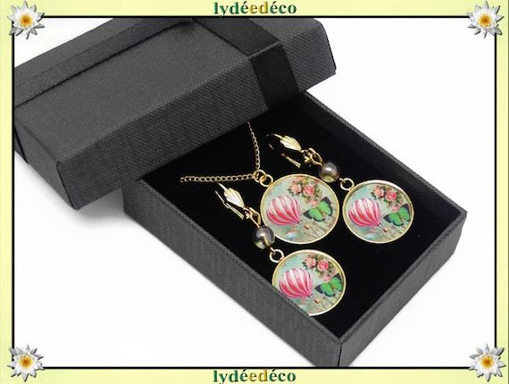 Parure Collier Loops Montgolfiere or gilded brass 24k gold filled 14K pink green party of mothers birthday gift Christmas