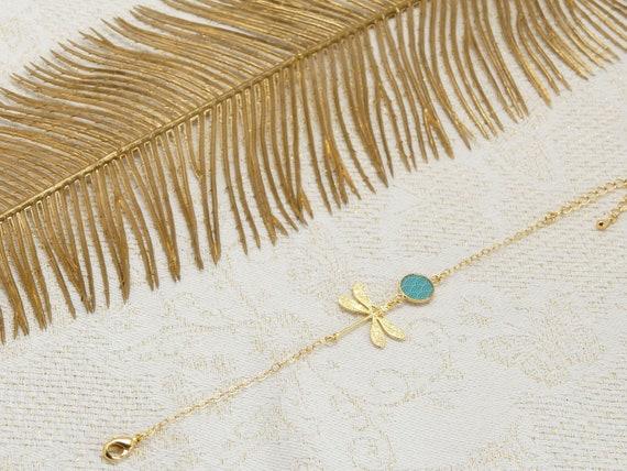 Japan waves seigaiha bracelet gold adjustable dragonfly brass or 24k turquoise or coral resin jewel ceremony wedding wedding bride