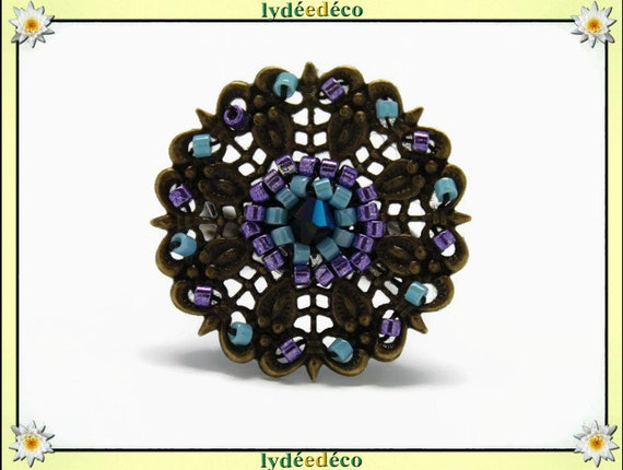Japanese turquoise purple glass 25mm bronze beads charm retro vintage adjustable flower ring