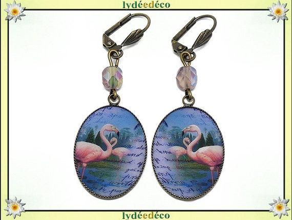 Retro earrings resin exotic flamingos flamingo blue resin beads bronze medallions 18 x 25mm