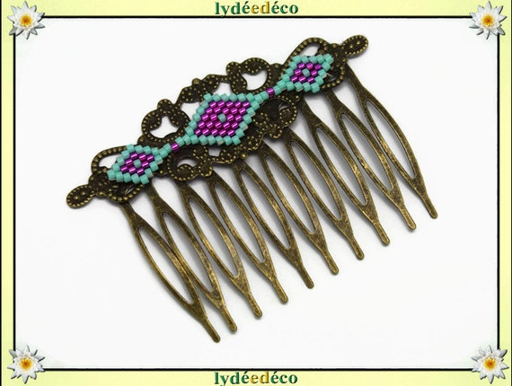 Vintage wedding hair comb Japanese brass rose green glass beads