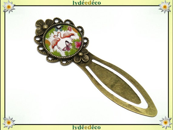 Bookmarks Flamingo flowers pink green resin brass lime Butterfly bronze mother's day gift birthday thank you teacher
