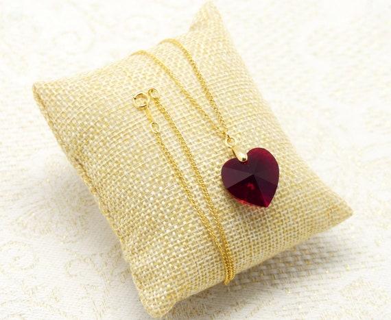 HEART necklace crystal pendant swarovski red siam Scarlet orange gold-filled 14k gold ceremony wedding accessory bride happiness