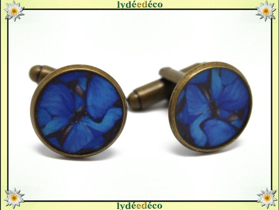 2 blue resin butterflies suit cuff links night gray black brass bronze 14mm master thank you for father's day birthday gift