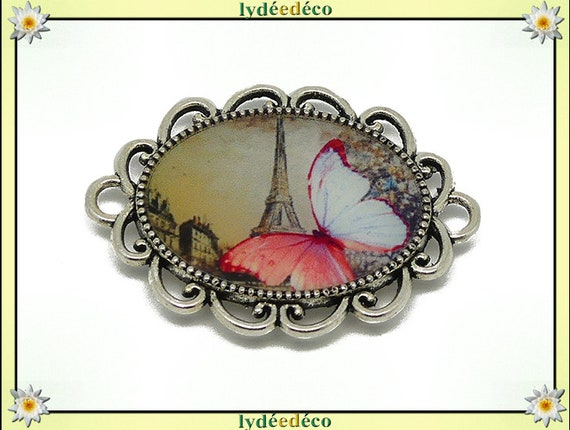 1 magnet magnet Butterfly pink eiffel tower Paris sepia white resin Brown mother's day gift personalized birthday thank you teacher