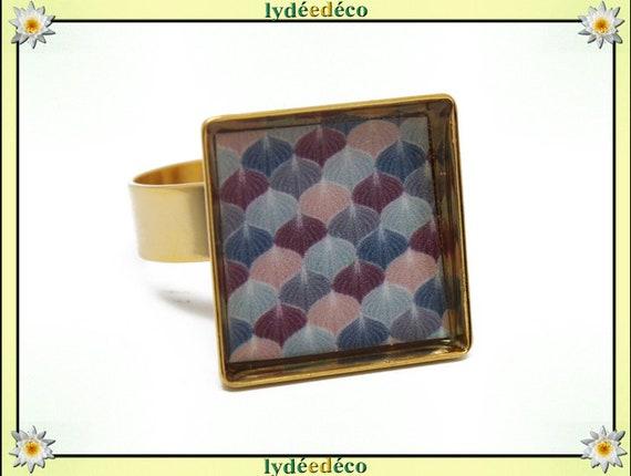 17mm adjustable rose ring GINKO square Japan 24 carat 24 K gold plated brass resin purple blue grey