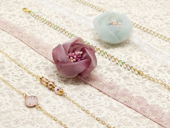 FLOWER wedding bracelet pearls swarovski pink green pastel flower silk tulle embroidery invited bridesmaid ceremony gold