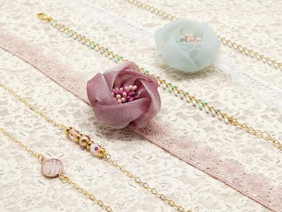 FLOWER wedding bracelet pearls swarovski pink green pastel flower silk tulle embroidery invited bridesmaid ceremony gold