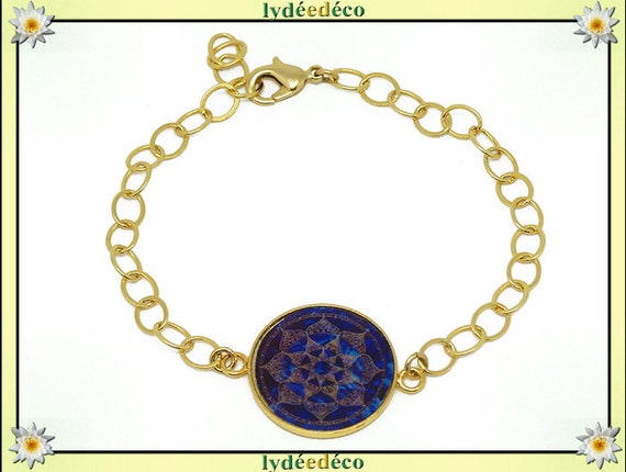 Golden brass gold 24 carat 24 k flower Arabesque bracelet blue Brown resin adjustable mother's day personalized anniversary gift