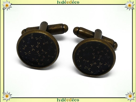 2 button cuffs resin Japan blue black brown Dragonfly brass 14mm master thank you for father's day birthday gift