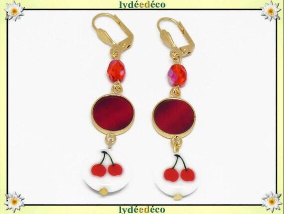 Earrings cherry Golden brass 24k red green white resin birthday gift Christmas party mothers wedding Noel