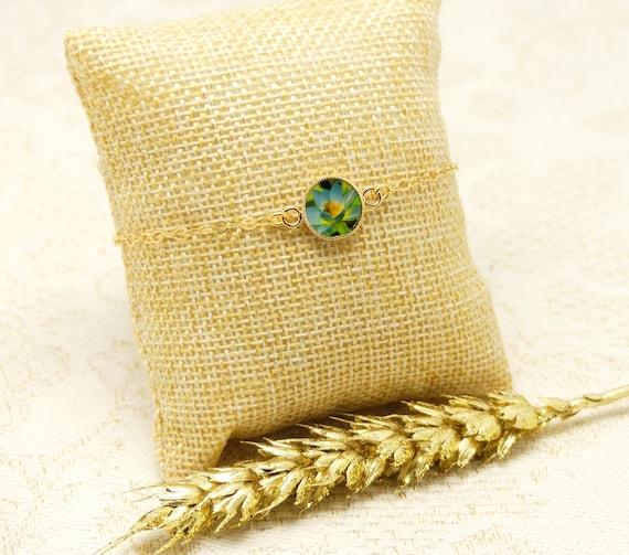 LOTUS gold-filled bracelet adjustable flower blue yellow green gold ceremony wedding wedding bride bridesmaid Mother's Day