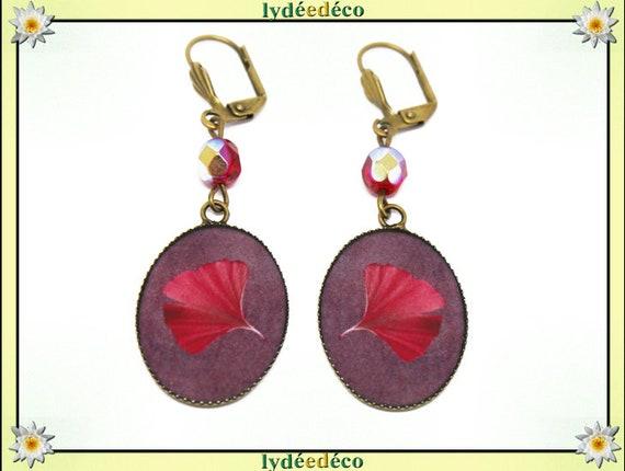 Retro earrings Japanese tree GINKO purple red resin bronze beads 18 x 25mm