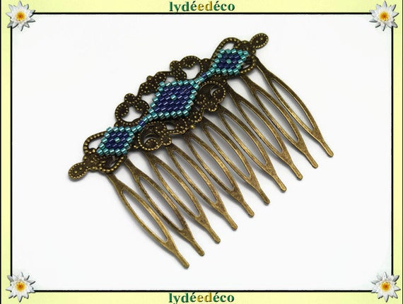 Vintage wedding hair comb Japanese brass blue green glass beads