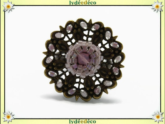 Japanese Pink White pastel glass 25mm brass beads charm retro vintage adjustable flower ring