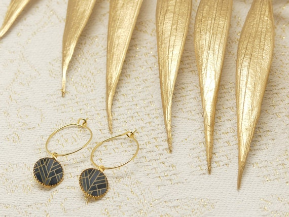Mini CREoles INCA Art Deco black grey gold gold brass or late 24k resin gift gift birthday wedding Christmas