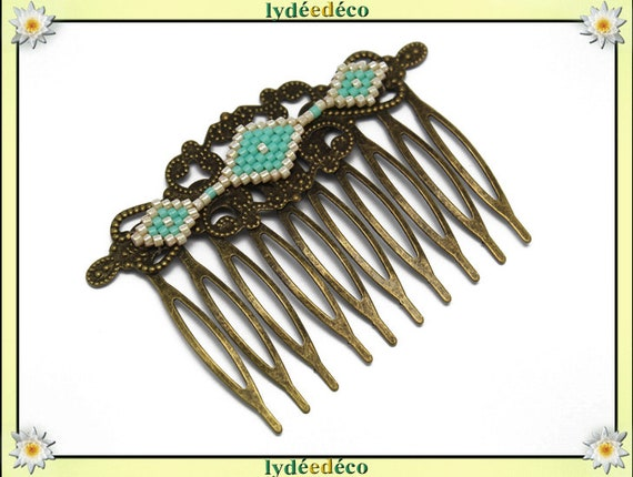 Vintage wedding hair comb beaded Japanese turquoise glass beige bronze brass