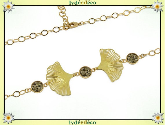 Headband Japan flowers lotus ginkgo gilded brass gold gold 24k black resin beaded party of mothers birthday gift thank you mistress