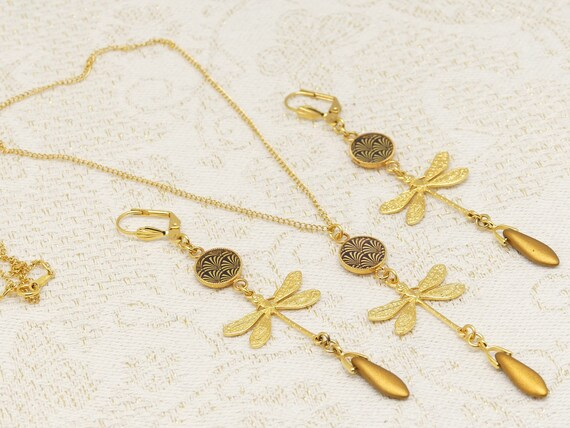 Adornment LIBELLULE Necklace Brass rings gold 24k gold filled 14k ginkgo tree Japan black or ceremonie ceremonie
