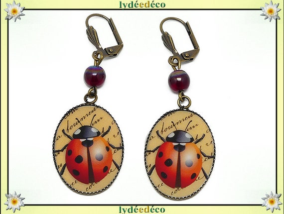 Earrings retro vintage beige black Red Ladybug resin bronze beads glass 18 x 25mm mothers birthday gift
