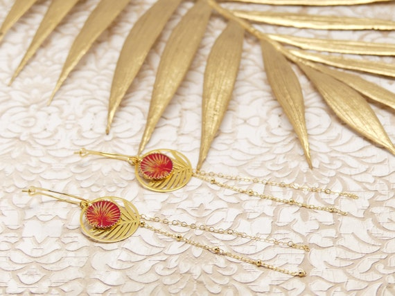 Mini Creoles PALMIER asymetrique chain Art Deco Japan red gold gold brass or late 24k resin ceremony wedding gift