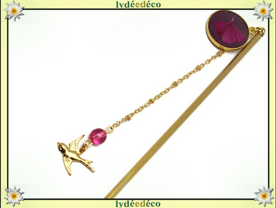 PIC à cheveux Ginko Japan brass gold 24 k fuschia pink resin mother's day personalized gift anniversary
