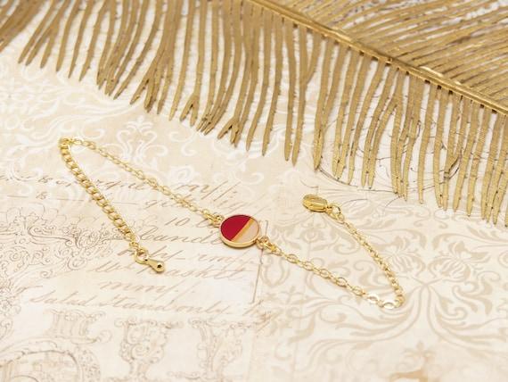 Bracelet NAYA gold-filled adjustable red pink gold gold gold jewel ceremony wedding accessory bride bridesmaid Mother's Day