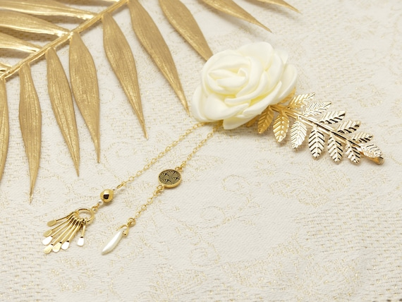 GINKGO hair accessory comb or leaves Japan or ivory bead resin wedding gift