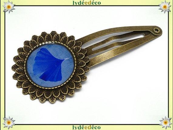 Hair clip wedding retro resin hair clip Ginko Japan blue brass bronze mothers birthday gift