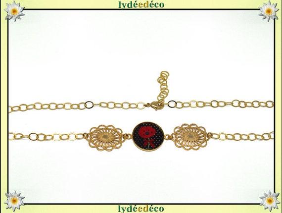 POPPY headband Golden brass gold 24 carat 24 k flower red green black resin resin glass beads